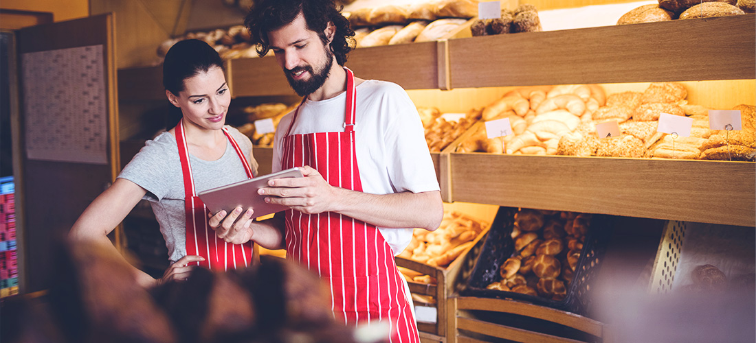 Retail bakery mobile device Staffbase