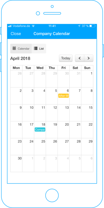 Calendar overview in your Employee App.