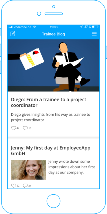 Overview of the trainee blog in your employee app