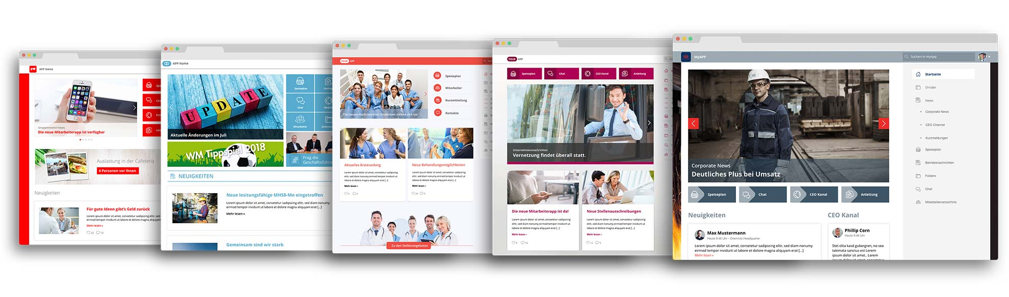 Staffbase Intranet Desktop Custom Designs