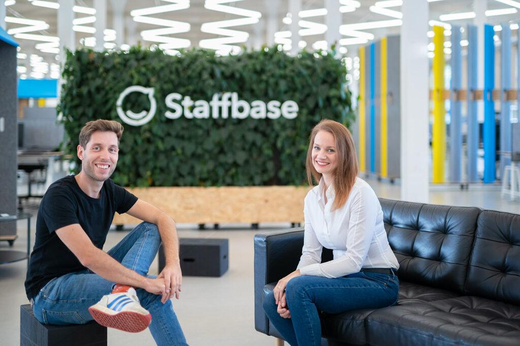 Staffbase CEO Dr. Martin Böhringer with Teambay Founder Sarah Manes